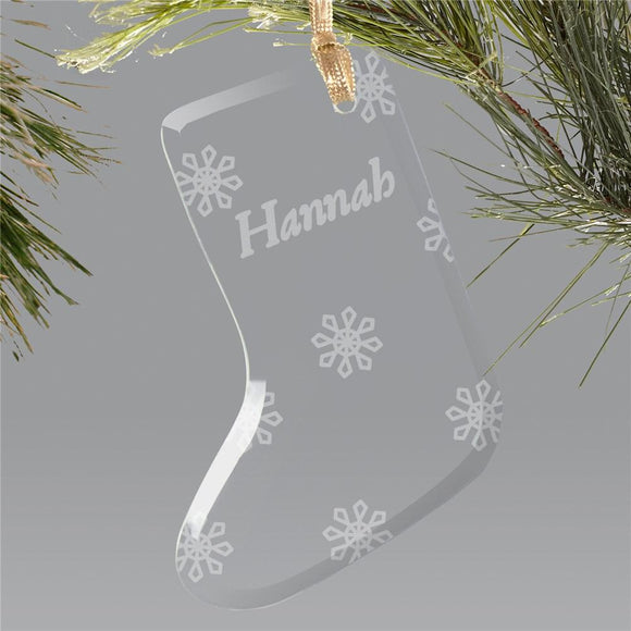 Engraved Snowflake Glass Stocking Holiday Ornament-Personalized Gifts