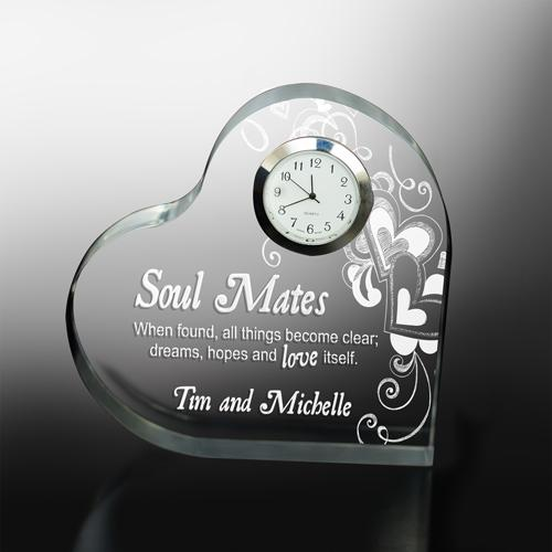 Engraved Soul Mates Heart Clock-Personalized Gifts
