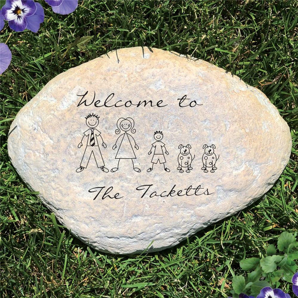 Engraved Stick Family Garden Stone-Personalized Gifts