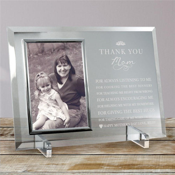 Engraved Thank You Mom Glass Frame-Personalized Gifts