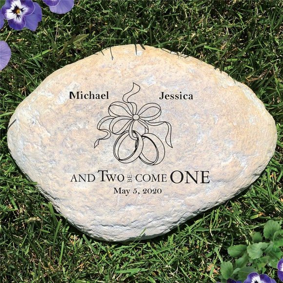 Engraved Two Became One Wedding Garden Stone-Personalized Gifts