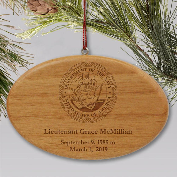 Engraved U.S. Navy Memorial Ornament | Wooden Oval-Personalized Gifts