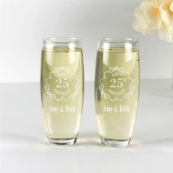 Engraved Vintage Frame Anniversary Stemless Flute Set-Personalized Gifts