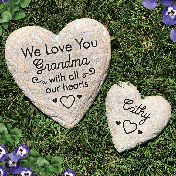 Engraved We Love You With All Of Our Hearts Heart Garden Stone-Personalized Gifts