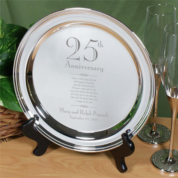 Engraved Wedding Anniversary Silver Plate-Personalized Gifts