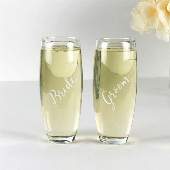 Engraved Wedding Party Stemless Flute-Personalized Gifts