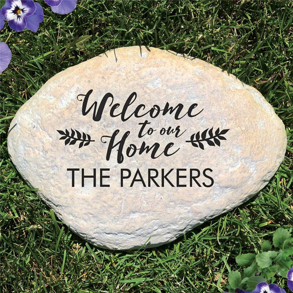 Engraved Welcome to Our Home Garden Stone-Personalized Gifts