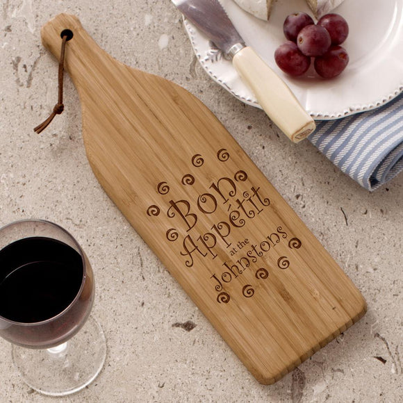 Engraved Wine Bottle Cheese Board-Personalized Gifts