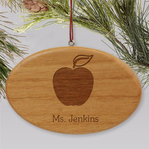 Engraved Wooden Oval Teacher Holiday Ornament-Personalized Gifts