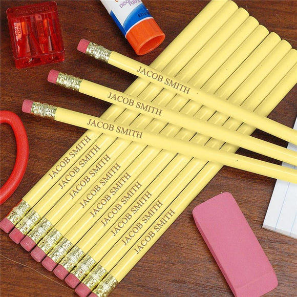 Engraved Yellow School Pencils-Personalized Gifts
