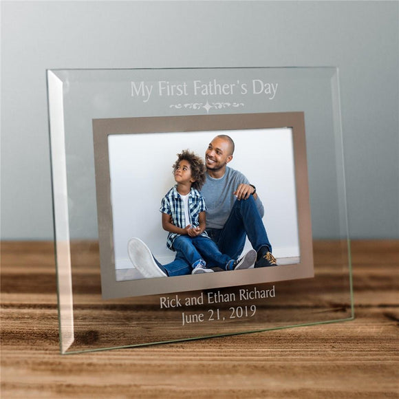 First Fathers Day Glass Engraved Picture Frame-Personalized Gifts