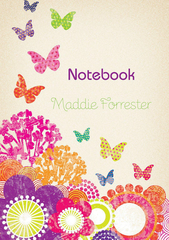Flowers and Butterflies Notebook-Personalized Gifts