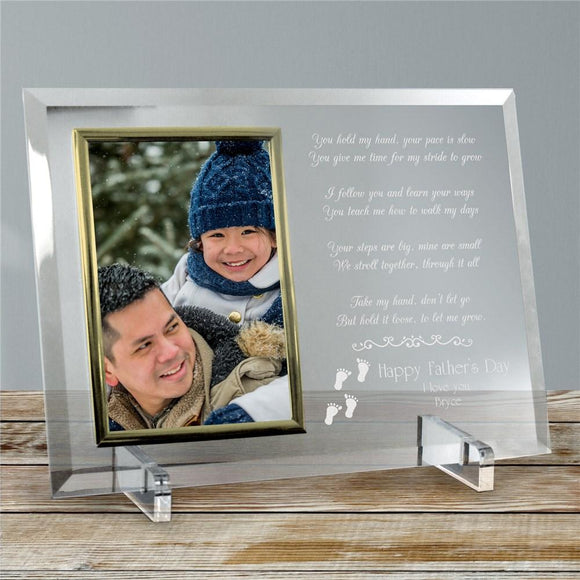 Following In Your Footsteps Personalized Fathers Day Beveled Glass Frame-Personalized Gifts