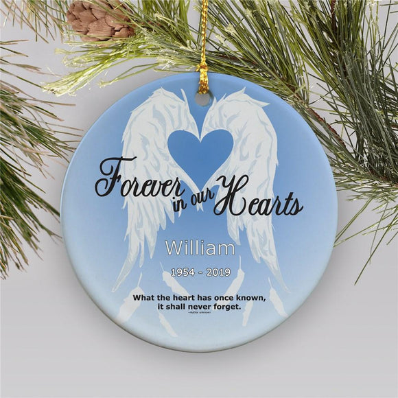 Forever In Our Hearts Ceramic Personalized Memorial Christmas Ornament-Personalized Gifts