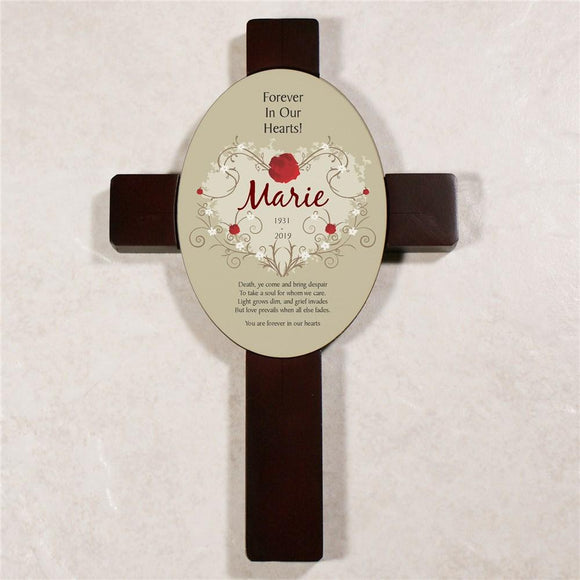 Forever In Our Hearts Keepsake Wall Cross Sympathy Gift-Personalized Gifts