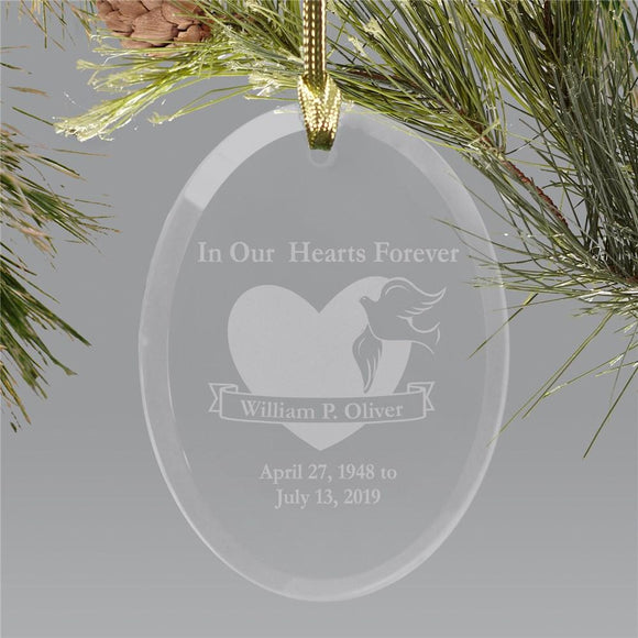 Forever in our hearts Oval Glass Ornament-Personalized Gifts