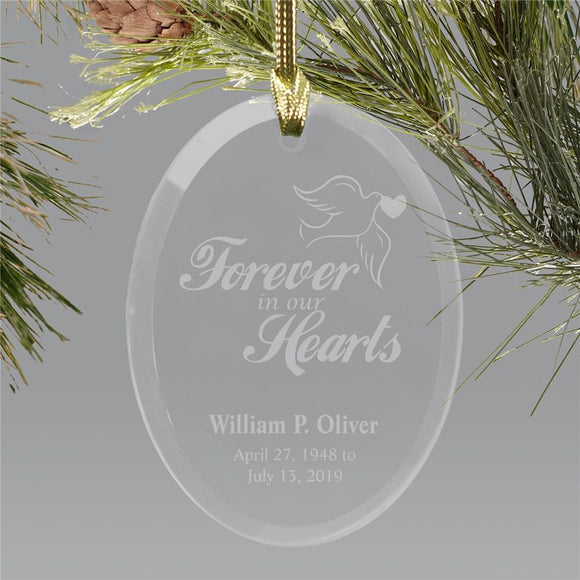 Forever In Our Hearts Oval RemembranceOrnament-Personalized Gifts