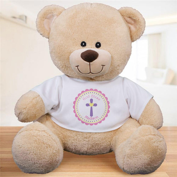 God Bless Personalized Teddy Bear - Pink Design-Personalized Gifts