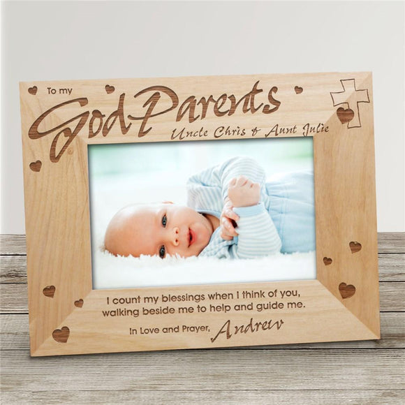 GodMother-GodFather Wood Frame-Personalized Gifts