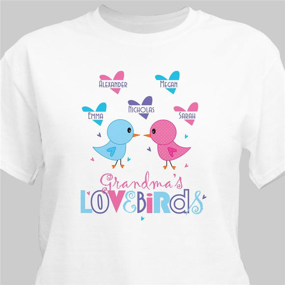 Grandma's Birdies T-shirt-Personalized Gifts