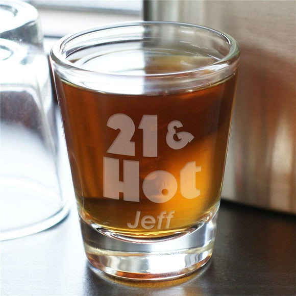 Hot Shot Personalized 21st Birthday Shot Glass-Personalized Gifts