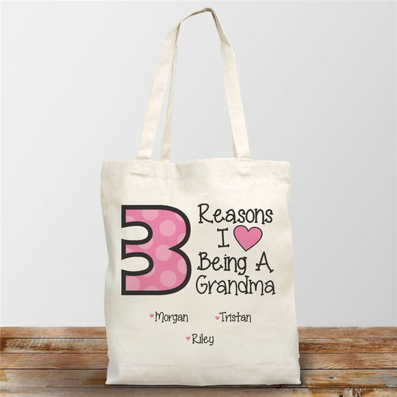 I love being a Grandma Canvas Tote Bag-Personalized Gifts