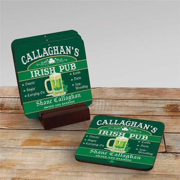Irish Pub Personalized Coaster Set-Personalized Gifts