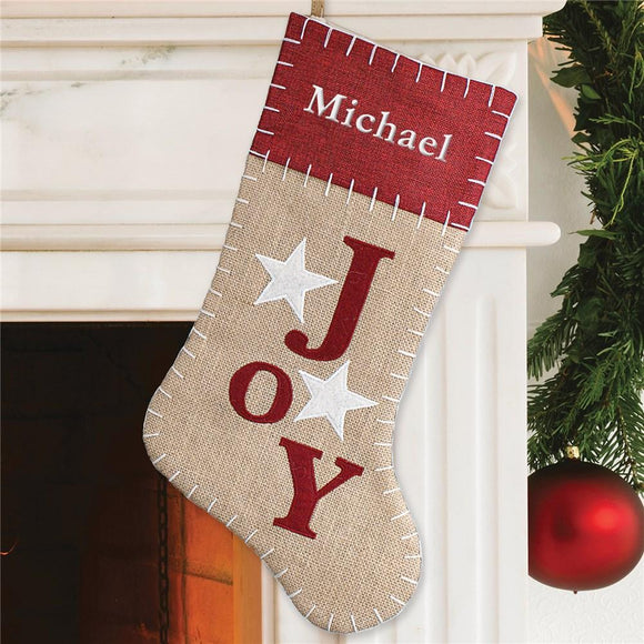 Joy Burlap Embroidered Stocking-Personalized Gifts