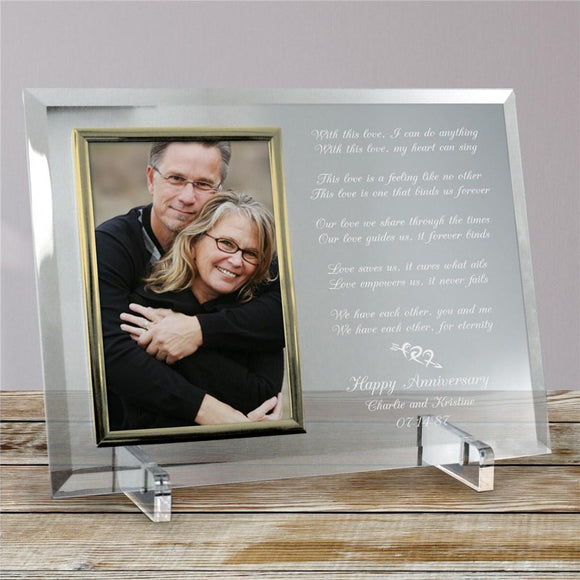 Love Is Magic Anniversary Personalized Beveled Glass Picture Frame-Personalized Gifts