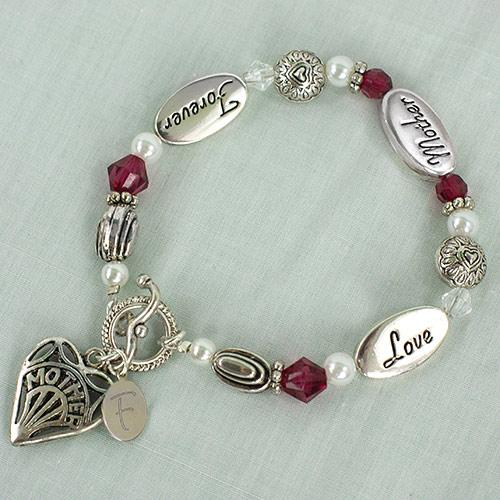 Love Mother Forever Red Gem Bracelet-Personalized Gifts