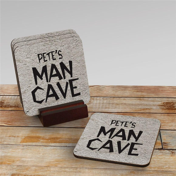 Man Cave Personalized Coaster Set-Personalized Gifts