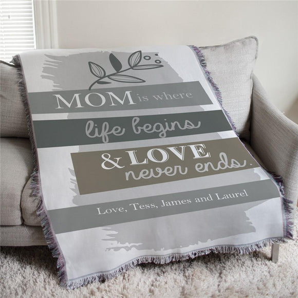 Mom is Where Life Begins Muted Floral Personalized Afghan Throw-Personalized Gifts