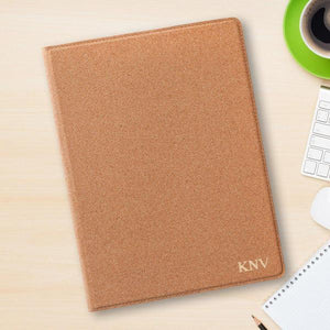 Monogrammed Cork Portfolio with Notepad-Personalized Gifts