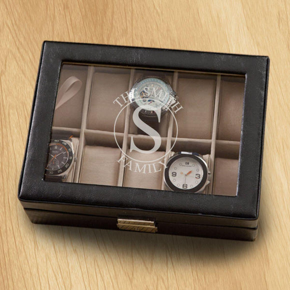 Monogrammed Watch Box - Black Leather - Holds 10 Watches-Personalized Gifts