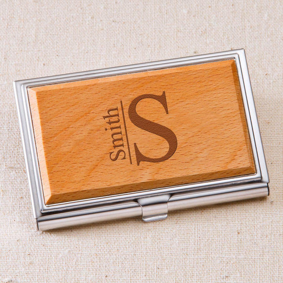 Monogrammed Wood Business Card Case-Personalized Gifts
