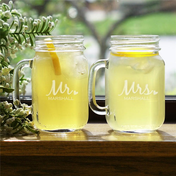 Mr and Mrs. Mason Jar set-Personalized Gifts