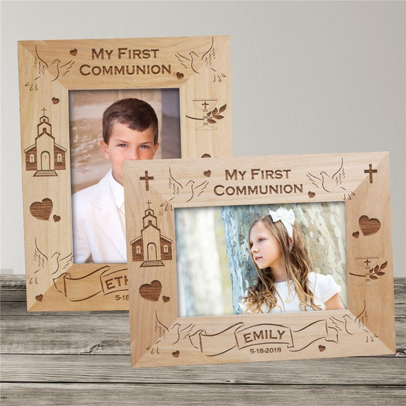 My First Communion Engraved Wood Frame-Personalized Gifts