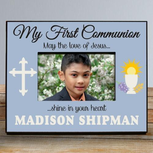 My First Communion Frame in Blue-Personalized Gifts