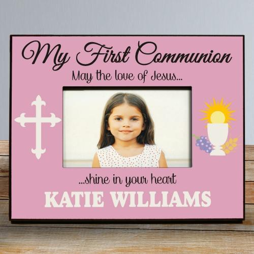 My First Communion Frame in Pink-Personalized Gifts