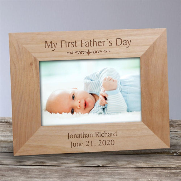 My First Fathers Day Wood Picture Frame-Personalized Gifts
