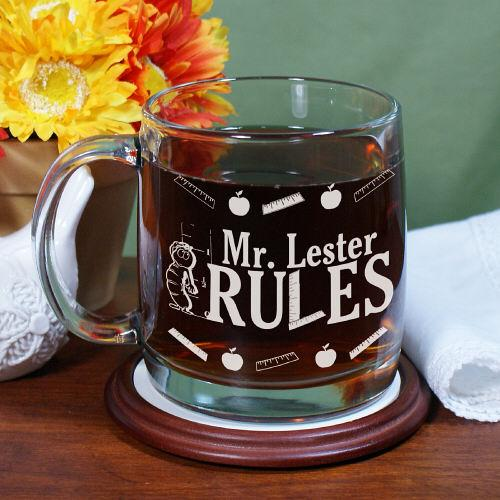 My Teacher Rules Engraved Glass Mug-Personalized Gifts