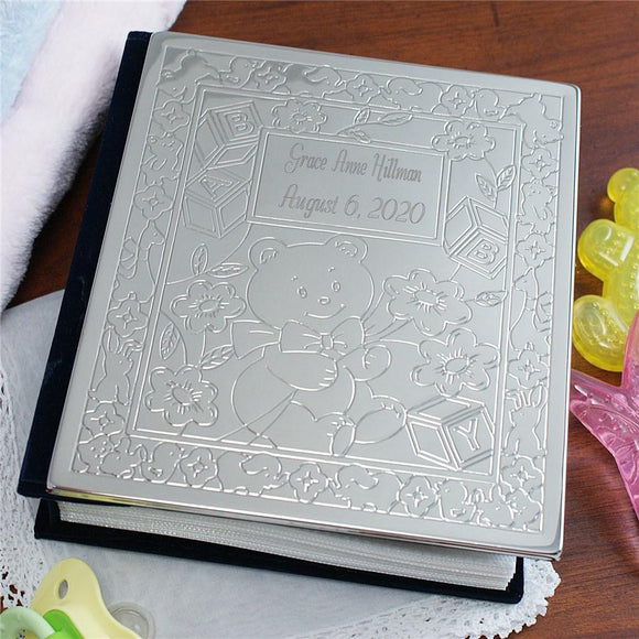 New Baby Bear Silver Photo Album-Personalized Gifts