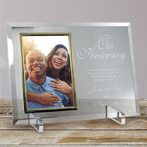Our Anniversary Personalized Beveled Glass Frame-Personalized Gifts