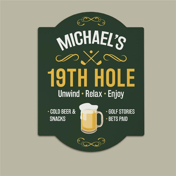 Personalized 19th Hole Golf Wall Sign-Personalized Gifts