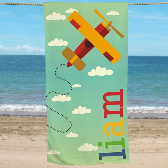 Personalized Airplane Beach Towel-Personalized Gifts