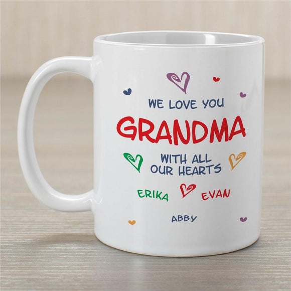 Personalized All Our Hearts Grandma White Mug-Personalized Gifts