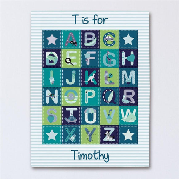 Personalized Alphabet Baby Boy Canvas-Personalized Gifts