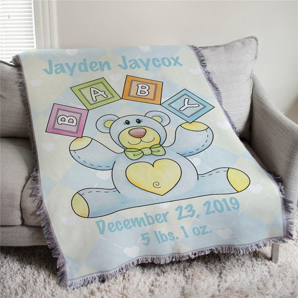 Personalized Baby Boy Teddy Bear Tapestry Throw-Personalized Gifts