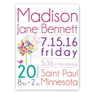 Personalized Baby Girl Announcement Canvas Sign-Personalized Gifts