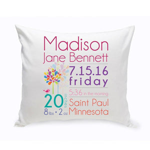Personalized Baby Girl Announcement Throw Pillow-Personalized Gifts